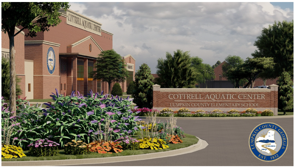 Aquatic Center Conceptual Design and sign view